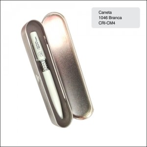 Clube Criciuma_Caneta metal 1046 branca - CRI-CM4